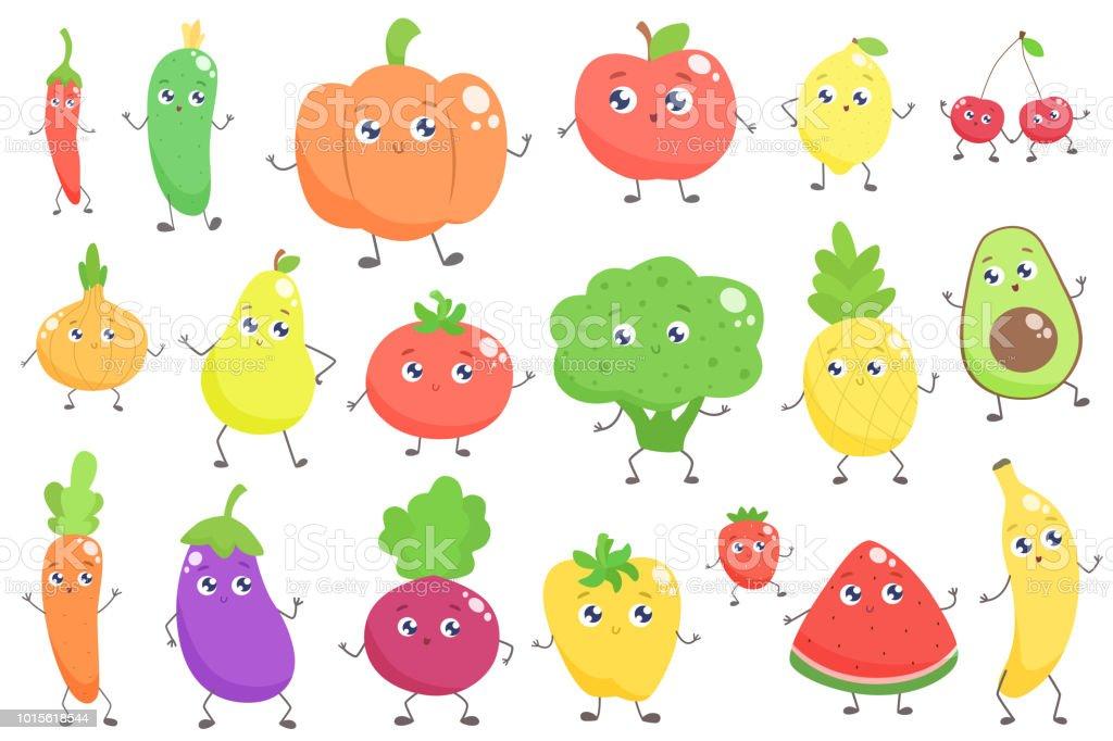 Set Of Cartoon Childrens Faces Stock Vector Art More: Set Of Cute Cartoon Fruits And Vegetables Stock Vector Art