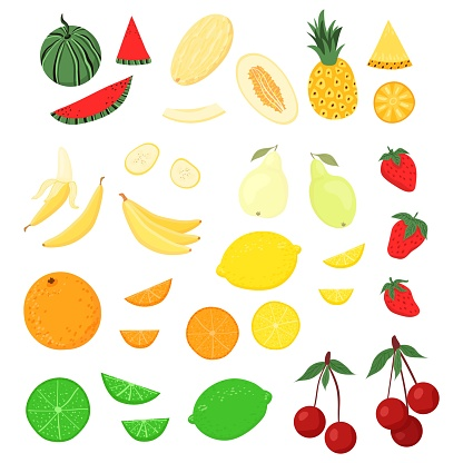 Set of cute cartoon fruits. Watermelon, melon, pineapple, banana, pear, orange, lemon, lime, pear, strawberry, cherry.