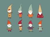 Set of cute cartoon gnomes. Funny elves.