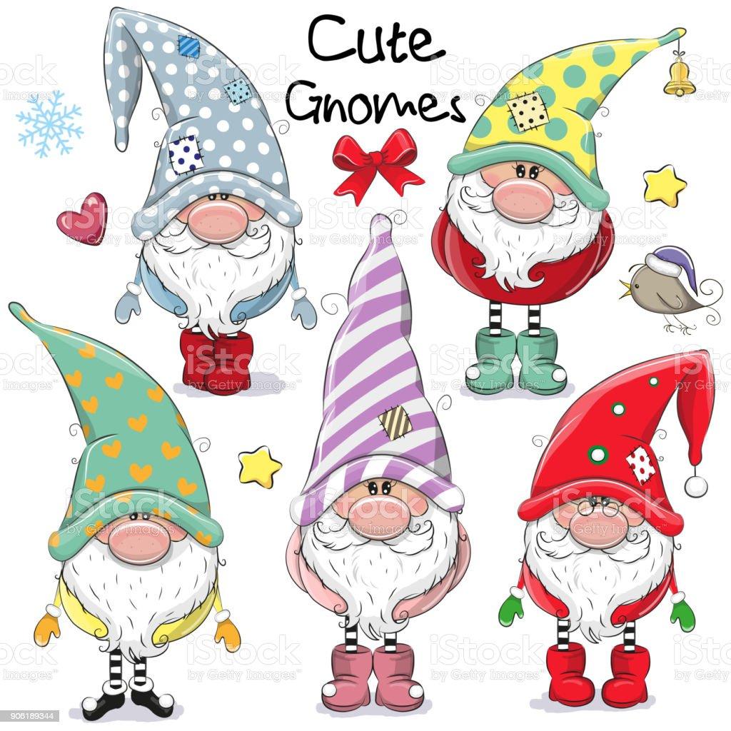 Set of Cute Cartoon Gnomes vector art illustration