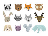 Set of cute cartoon hand drawn animals in bright colors. Vector illustration of wild and domestic animal heads as panda, bear, fox, raccoon, cat, mouse for pattern, print design, kids app and book