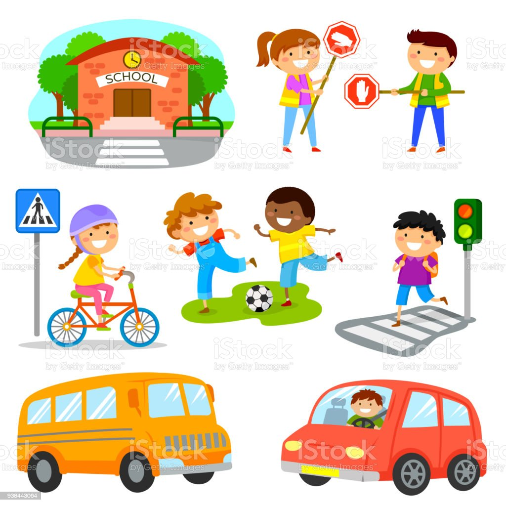 Set Of Cute Cartoon Kids And Objects Related To Road