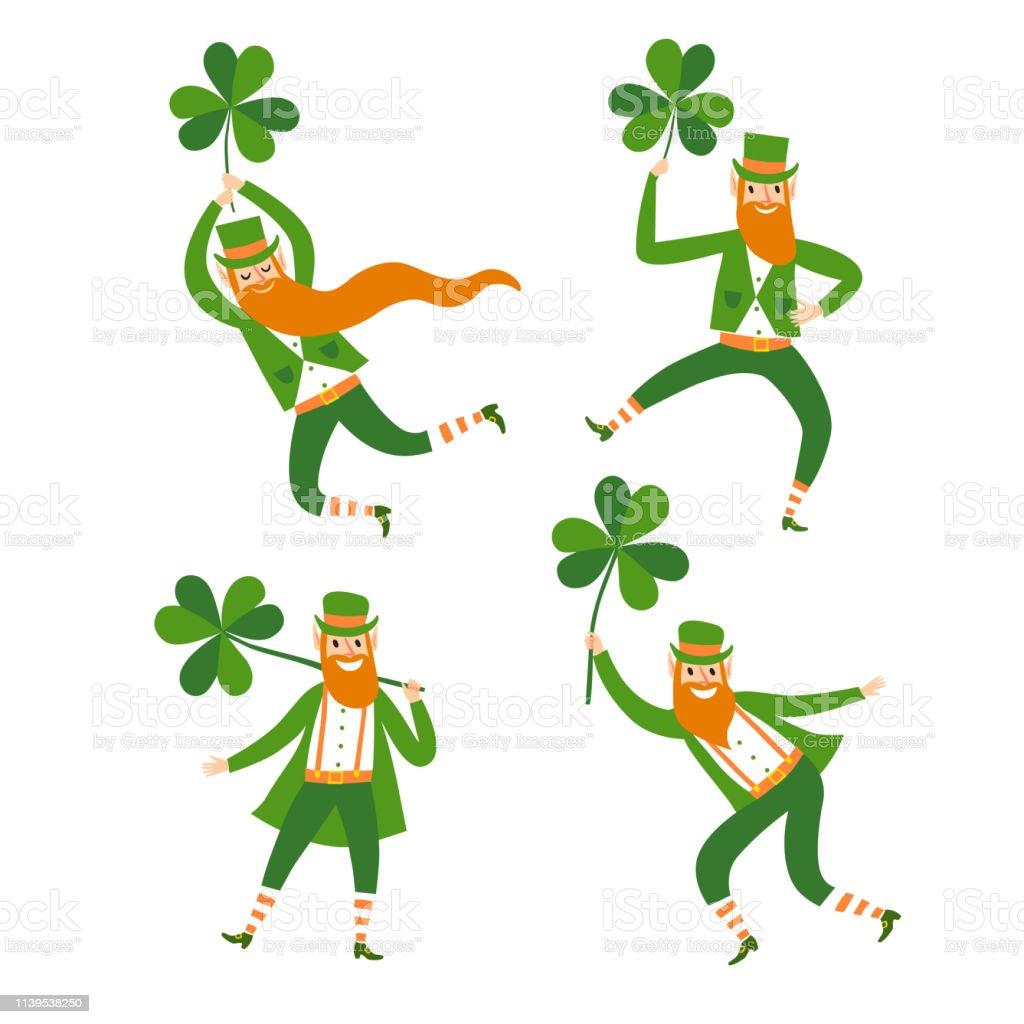 Set Von Niedlichen Cartoon Leprechauns Mit Shamrocks Stock ...