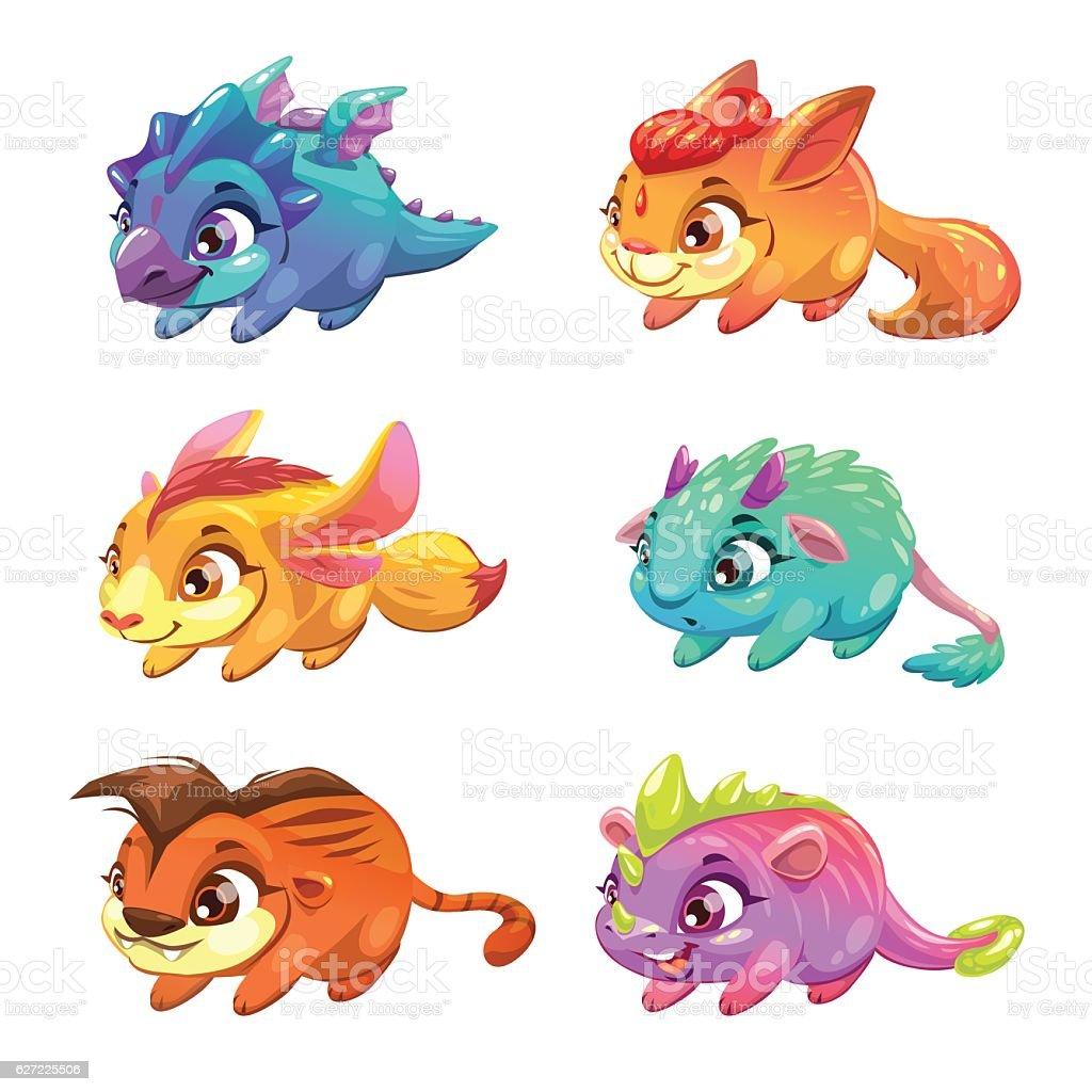 set of cute cartoon little monsters stock vector art 627225506