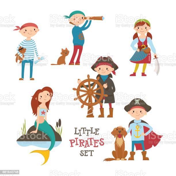 Set of cute cartoon little pirate sailor kids and mermaid vector id681640748?b=1&k=6&m=681640748&s=612x612&h=xvyfphlqegp6u1lplbh0mgc6r vbl94o0antnoc4odq=
