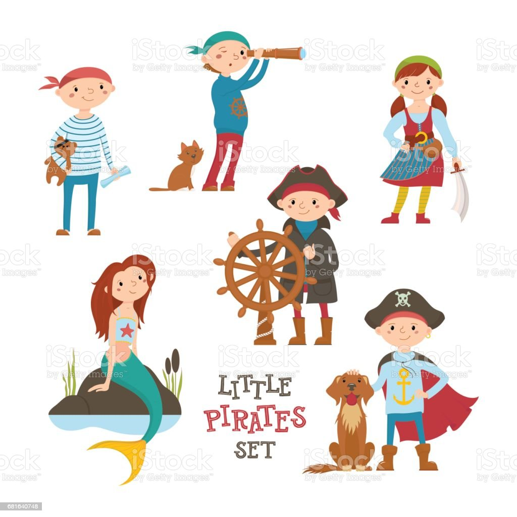Set of cute cartoon little pirate, sailor kids and mermaid vector art illustration