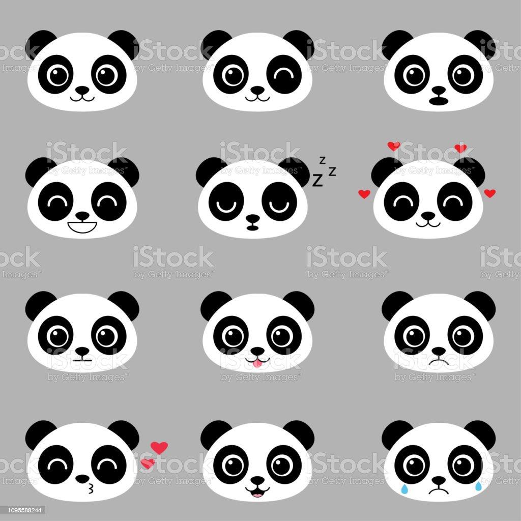 Ensemble Démotions Panda Mignon Dessin Animé Vecteurs Libres De Droits Et Plus Dimages Vectorielles De Amour