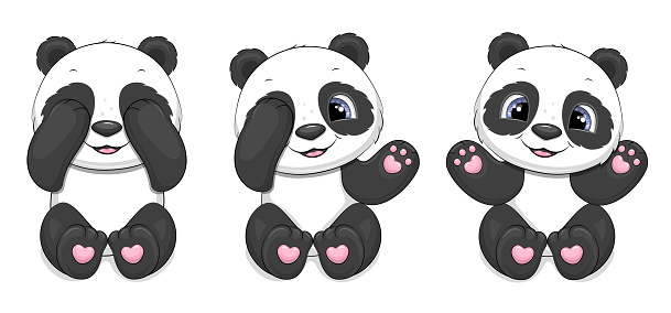 Set of cute cartoon pandas.