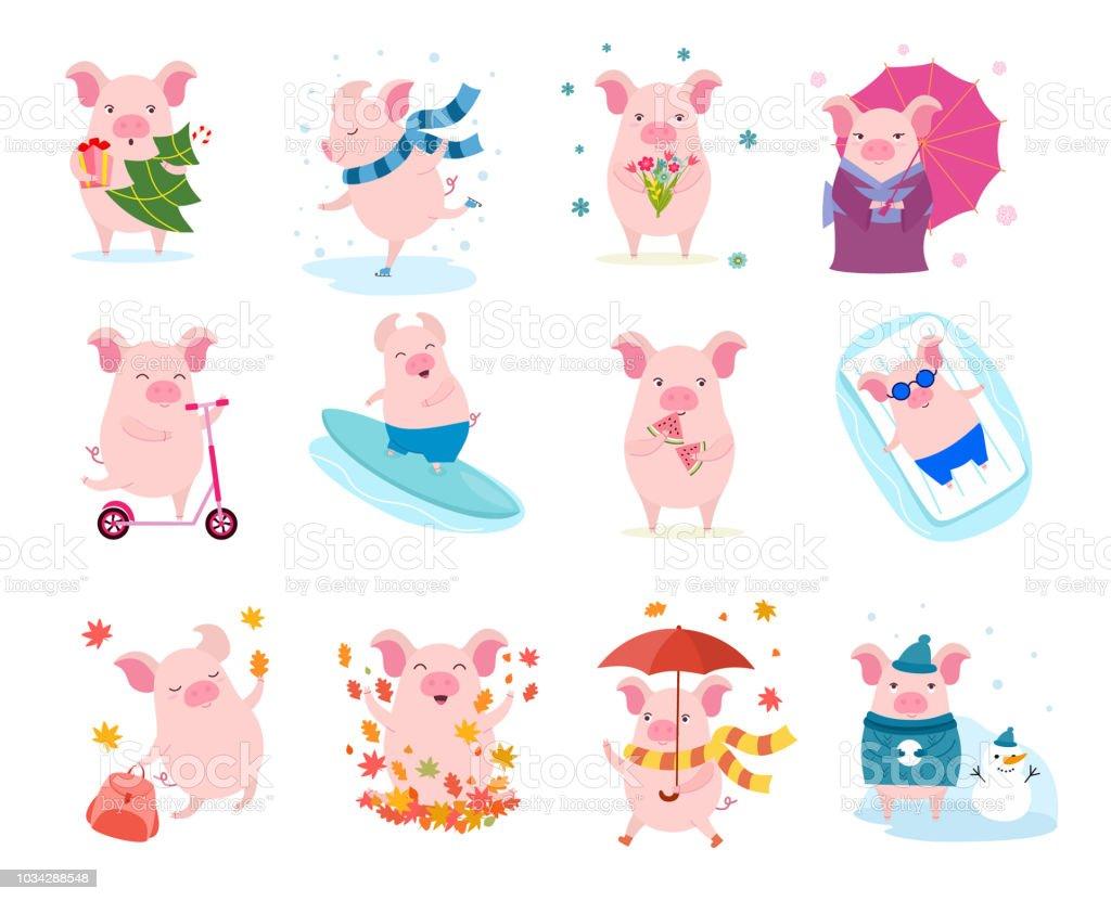 Ilustración de Conjunto De Cerdos De Dibujos Animados Lindo Vector ...