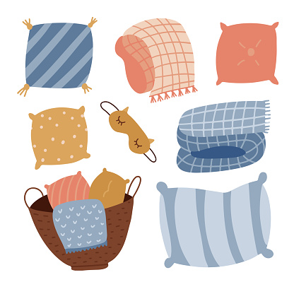 Set of cute cartoon pillows, blankets and plaids. Hygge Interior decoration textile elements. Hand drawing isolated objects on white background. Vector flat hand drawn illustration.