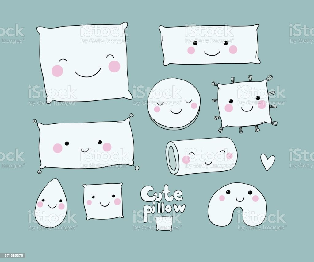 Set of cute cartoon pillows. vector art illustration