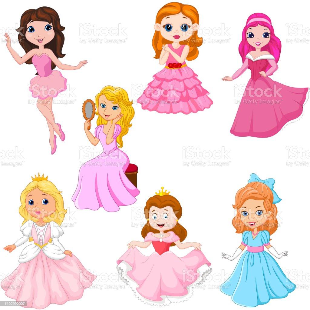 Ilustración De Conjunto De Princesas De Dibujos Animados
