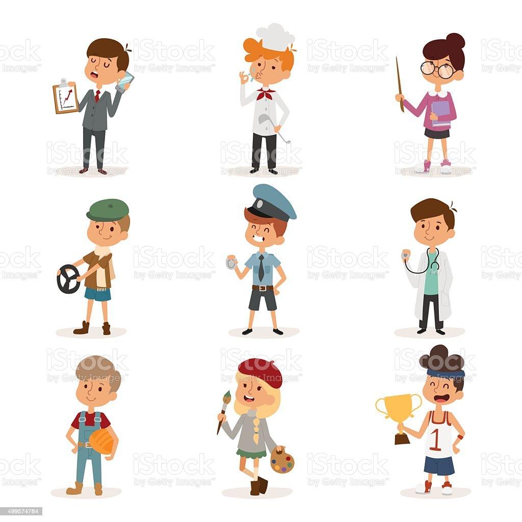 set of cute cartoon professions kids stock vector art more images
