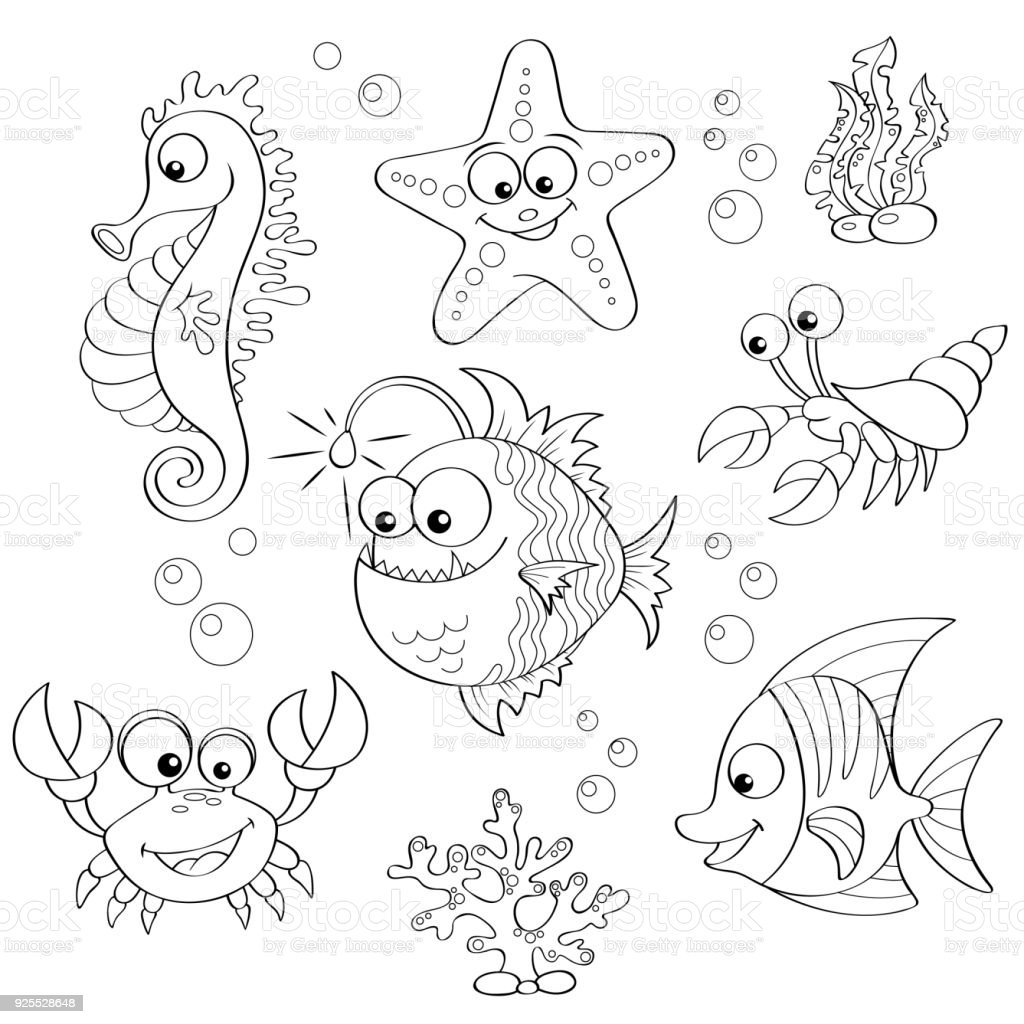 Set Of Cute Cartoon Sea Animals Black And White Vector Illustration For Coloring Book Royalty