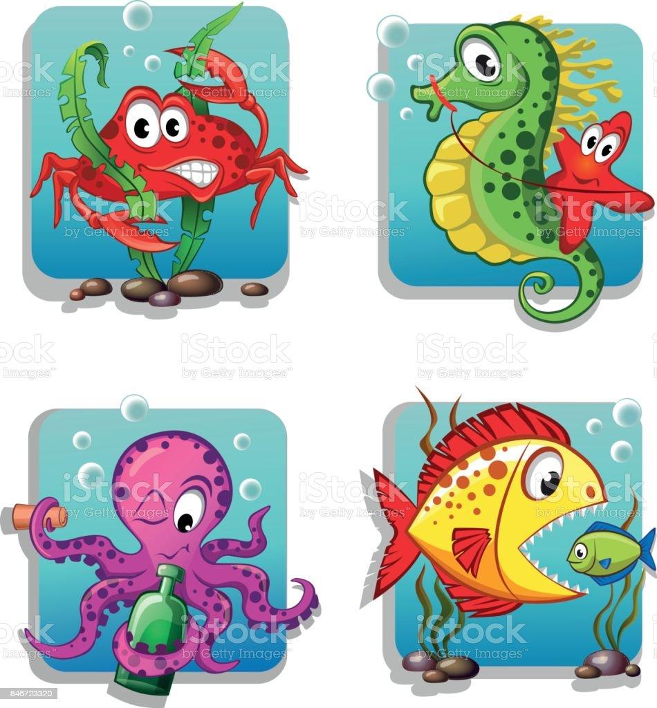 set of cute cartoon sea animals crab seahorse starfish octopus