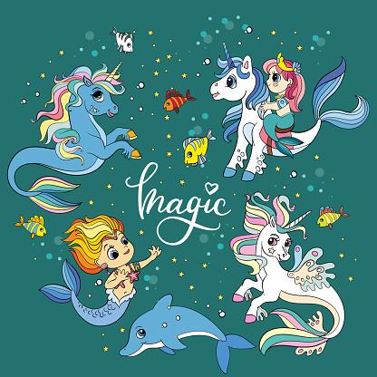 Set of cute cartoon sea unicorns and mermaids vector illustration