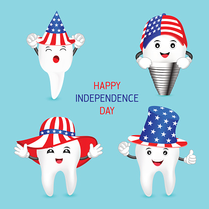 Set Of Cute Cartoon Tooth With American Hat Stock Illustration - Download Image Now