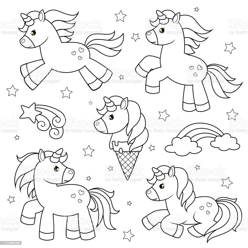Ilustración De Juego De Unicornios De Dibujos Animados Lindo