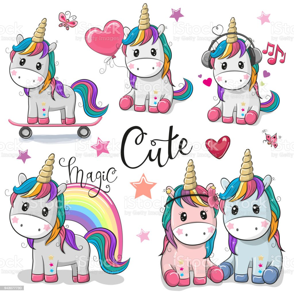 Set of Cute Cartoon Unicorns vector art illustration