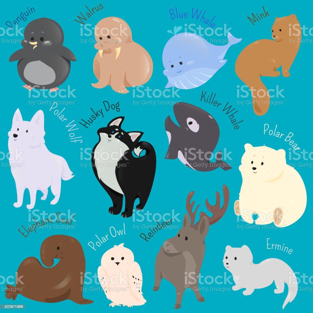 のセットかわいい漫画の動物のアイコン冬 北 のイラスト素材 522871366