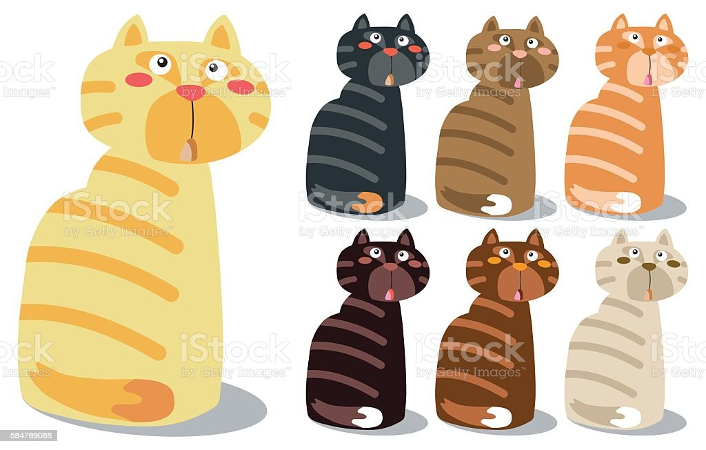 Set Of Cute Cat Characters on Isolated Vector EPS10 vector art illustration