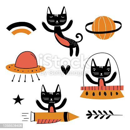 istock Set of cute cat illustration vector design art. Flying funny kids animal astronauts in space, with planets, stars, loves. Concept for children print. Isolated objects on white background. 1255528406