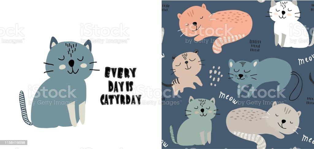 d46ab5413f7 Ilustración de Conjunto De Impresión De Gato Lindo Y Patrón Sin ...