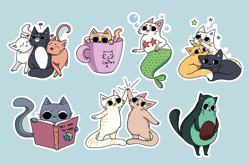 Set of cute cats stickers. Avocado cat, coffee-cat. Cat reading a book. Pyramid made of cats.