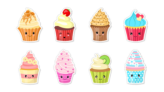 Set of cute character cupcake stickers. Isolated on white background.
