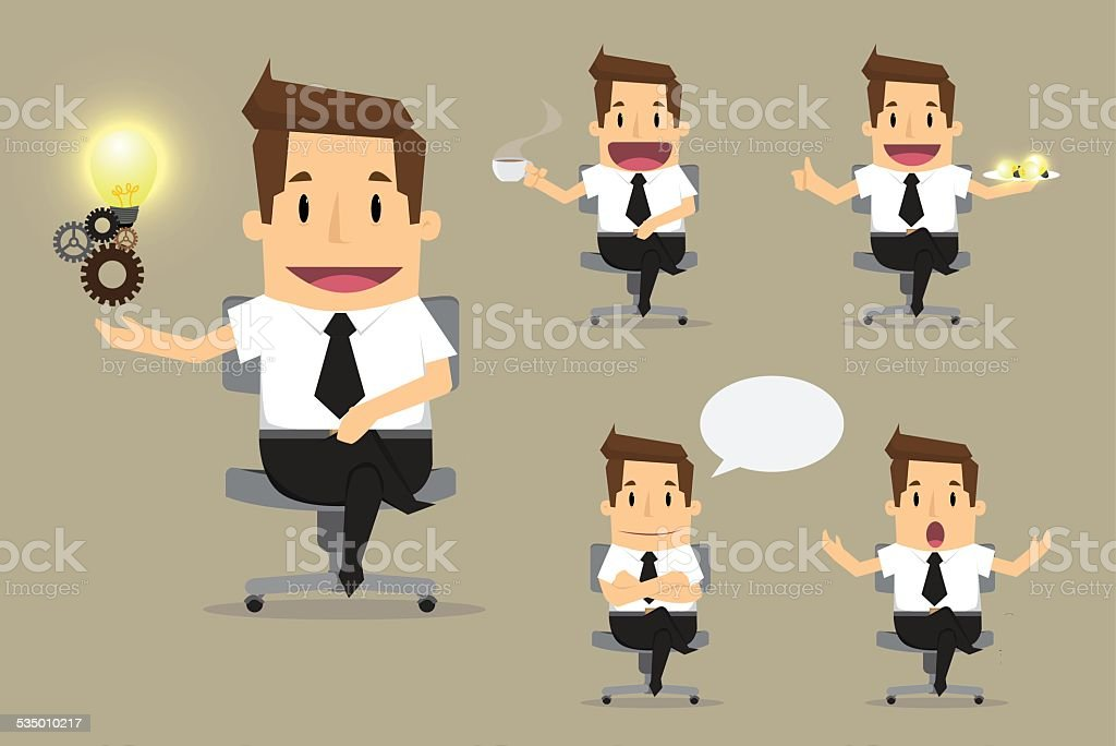 set of cute characters businessman vector art illustration