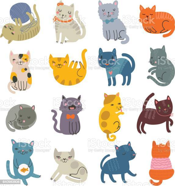 Set of cute characters cats collection vector id640983806?b=1&k=6&m=640983806&s=612x612&h=vyxeh qfuvhzqgmhm3iv88k3c7aun6pggxkxcidvk1y=