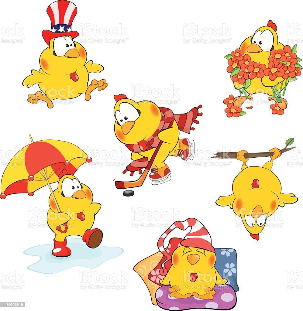 Ensemble de poulets mignonne dessin animé pour votre design - Illustration vectorielle