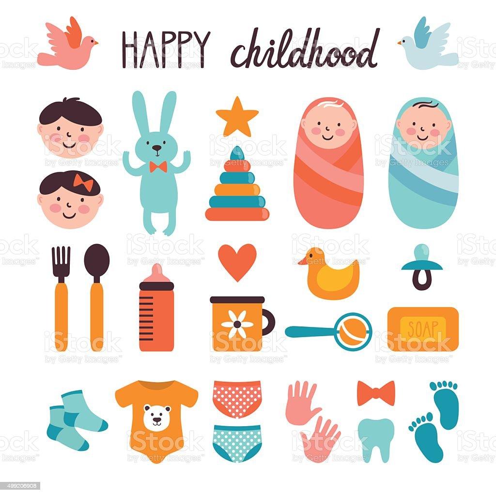 Set of cute childish elements vector art illustration