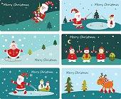 Set of Christmas cute banners with Santa, snowmen, kid girl and deer