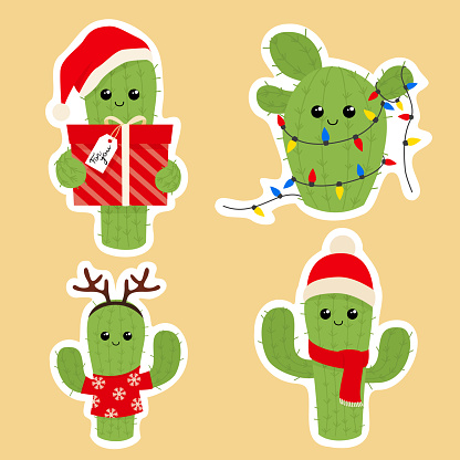 Set of cute christmas cactus icons