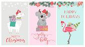 Set of cute Christmas card with koala bear, flamingo and lama. Editable vector illustration