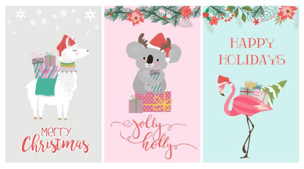 Set of cute Christmas card with koala bear, flamingo and lama Set of cute Christmas card with koala bear, flamingo and lama. Editable vector illustration australian christmas stock illustrations