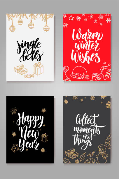 Set of cute Christmas cards. Posters collection. Vector template for greeting cards Set of cute Christmas cards. Posters collection. Vector template for greeting cards. pacific dogwood stock illustrations