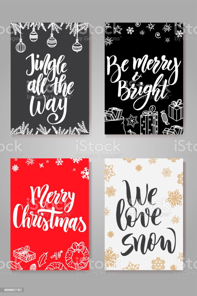 Set of cute christmas cards posters collection vector template for set of cute christmas cards posters collection vector template for greeting cards royalty m4hsunfo
