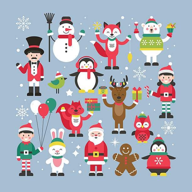 set of cute christmas characters for graphic and web design - 가공의 인물 stock illustrations