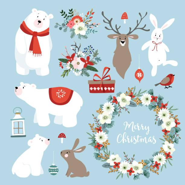 Conjunto de lindo Navidad clip-arts con conejos, renos, osos polares, flores de invierno, guirnalda de la Navidad y bolas. Diseño escandinavo. Aislado mano dibujado de objetos vectoriales - ilustración de arte vectorial