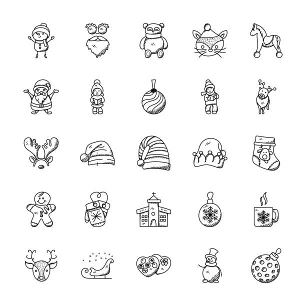 Set of Cute Christmas Doodles A christmassy doodle set of christmas doodles which are hard to resist. Grab this pack and use them for all your Christmas projects. Merry Christmas! christmas teddy bear stock illustrations