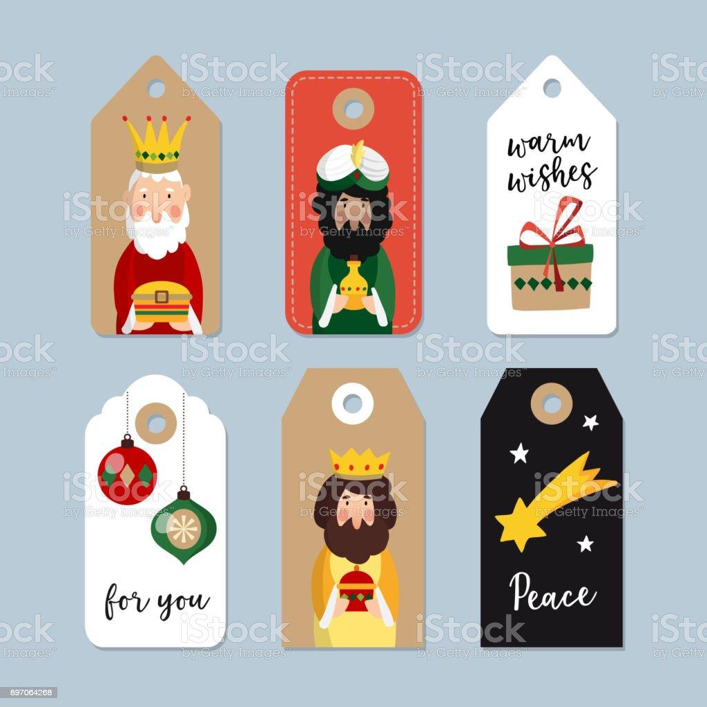 Dias De Reyes Magos Descargar ilustración de conjunto de lindo regalo de navidad etiquetas