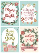 Set of cute Christmas greeting cards. Editable vector illustration