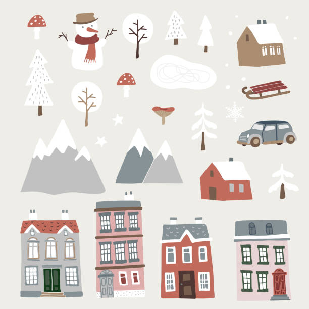 Set of cute Christmas landscape, town and village icons. Hand drawn houses, mountains, snowman and trees. Isolated winter vector objects, flat design. Set of cute Christmas landscape, town and village icons. Hand drawn houses, mountains, snowman and trees. Isolated winter vector objects, flat design. cottage stock illustrations