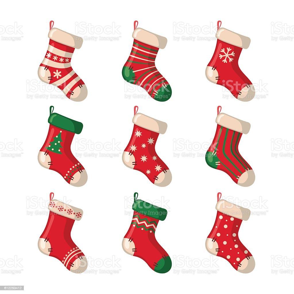 set of cute christmas socks stock vector art more images of