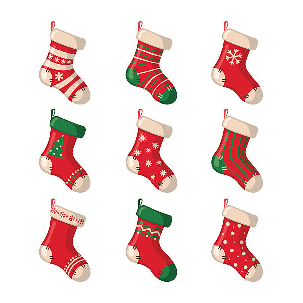 Set of cute Christmas socks. Set of cute Christmas socks isolated on white background. Vector illustration. christmas stocking stock illustrations