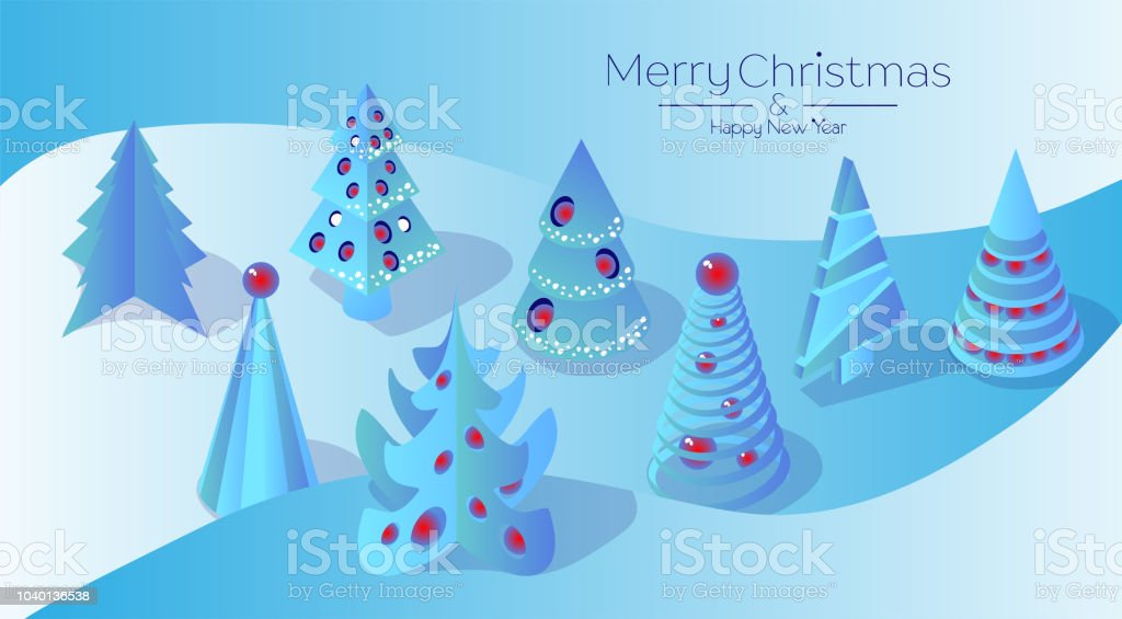 set of cute christmas trees on a white background blue christmas tree with christmas toys isometric 3d stock illustration download image now istock https www istockphoto com vector set of cute christmas trees on a white background blue christmas tree with gm1040136538 278456656