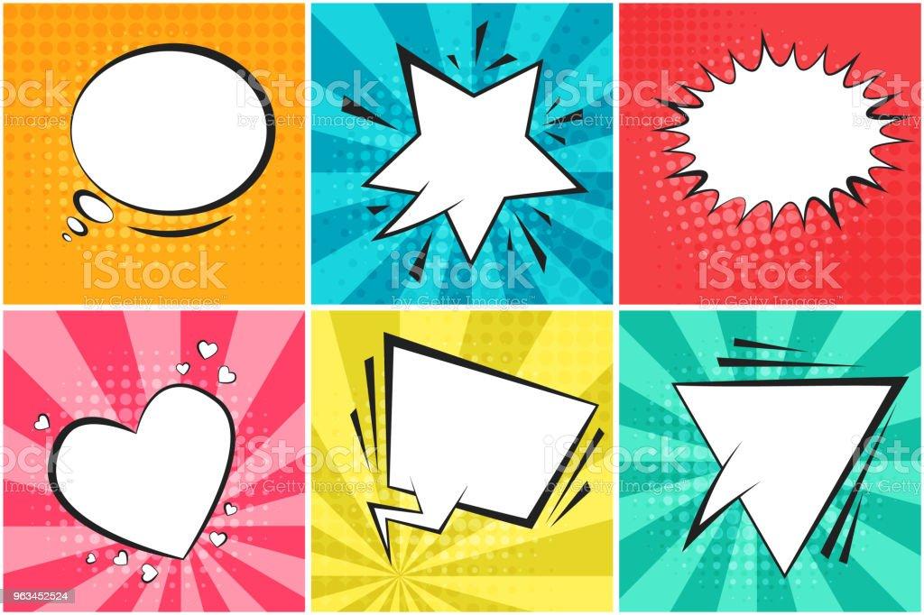 Zestaw uroczych kolorowych baniek mowy retro - Grafika wektorowa royalty-free (Superbohater)