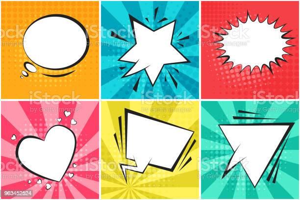 Zestaw Uroczych Kolorowych Baniek Mowy Retro - Stockowe grafiki wektorowe i więcej obrazów Superbohater